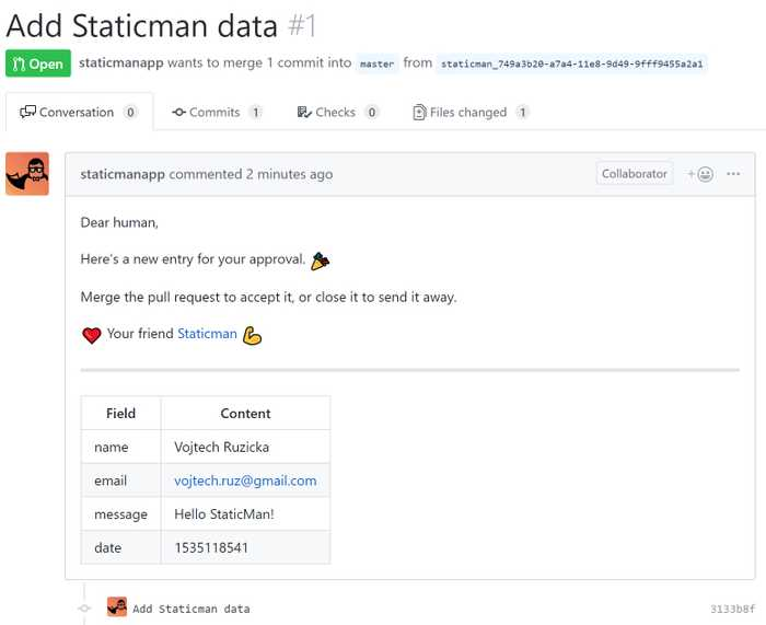 StaticMan Moderation Pull Request